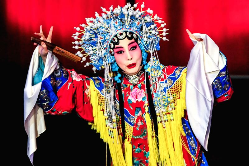 "Chinese artist Sun Ping performs an excerpt of a traditional Beijing Opera ""The Drunken Beauty "" in Los Angeles, the United States, on Jan. 31, 2015. .. - Sun Ping"