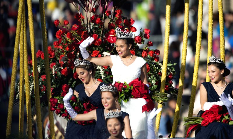 Rose Queen of 2014 marches in the 126th Rose Parade in Pasadena, California, the United States on Jan. 1, 2015.