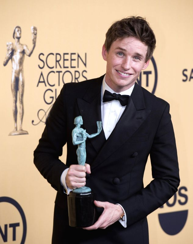 Actor Eddie Redmayne wins the Best Actor In Film at the 21st Annual Screen Actors Guild Awards at the Shrine Auditorium, in Los Angeles, California, on January . - Eddie Redmayne