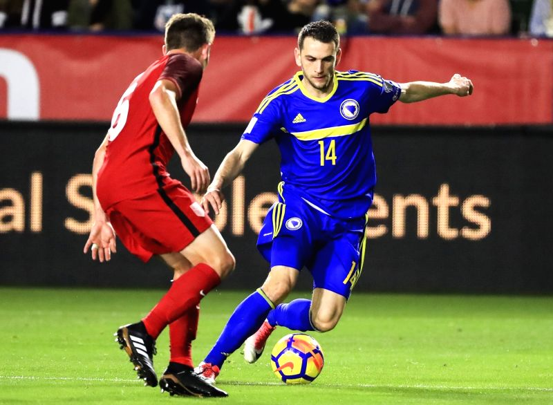 LOS ANGELES, Jan. 29, 2018 - Ognjen Todorovic (R) of Bosnia and Herzegovina controls the ball during an international friendly soccer match between the United States and Bosnia and Herzegovina in Los ...