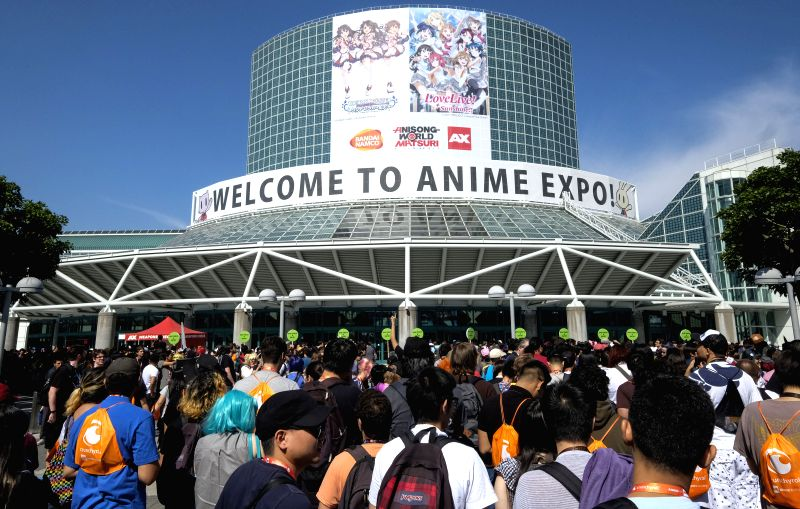 LOS ANGELES, July 6, 2018 - Anime fans wait to enter the Anime Expo at the Los Angeles Convention Center in Los Angeles, the United States, on July 5, 2018. The four-day event featuring Japanese ...