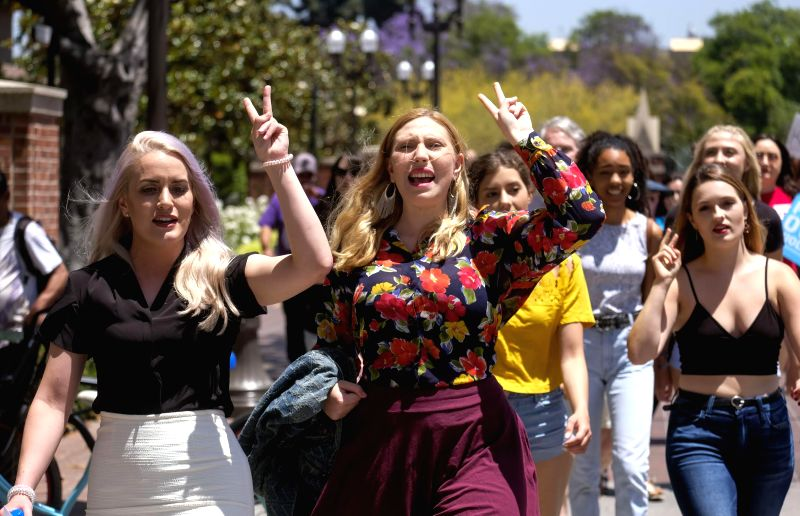 LOS ANGELES, June 10, 2018 - A group of students and their supporters converge in front of Engemann Student Health Center at University of Southern California (USC) demanding that former USC ...
