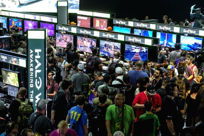 LOS ANGELES, June 14, 2017 - Visitors try new games during the Electronic and Entertainment Expo (E3) at the Convention Center in Los Angeles, the United States, on June 13, 2017.