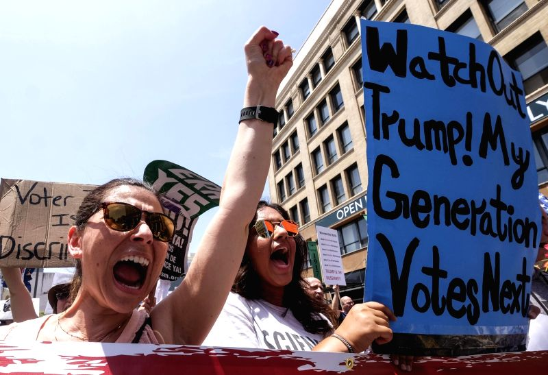 LOS ANGELES, June 3, 2017 - People holding placards participate in the March for Truth rally in Los Angeles, the United States, on June 3, 2017. Rallies and marches took place across the country on ...