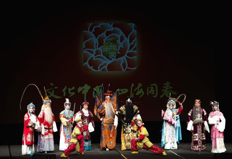 "Peking Opera performers pose on the stage during the ""Cultures of China, Festival of Spring"" performance in Los Angeles, the United States, March 4, ..."