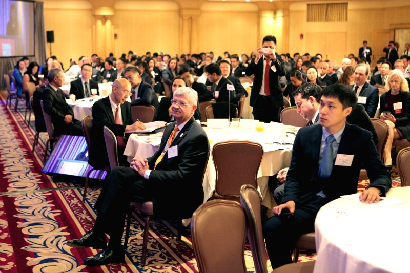 LOS ANGELES, May 10, 2017 - Delegates listen at the opening ceremony of the 2nd California-China Business Summit in Los Angeles, California, the United States, May 9, 2017. California Governor Jerry ...