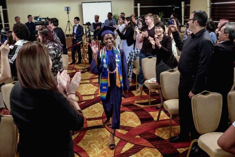 LOS ANGELES, May 28, 2017 - Students of American University Preparatory School take part in a graduation ceremony at a hotel in downtown Los Angeles, the United States, May 27, 2017.