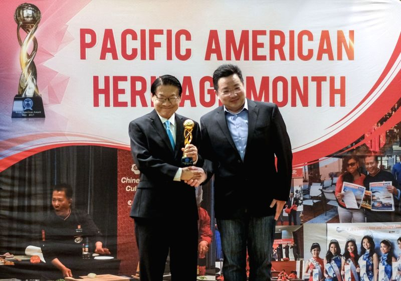LOS ANGELES, May 31, 2017 - Former California Assemblyman Mike Eng (L) receives award during the awards ceremony in Pasadena, California, the United States, May 30, 2017. The Asian American Heritage ...
