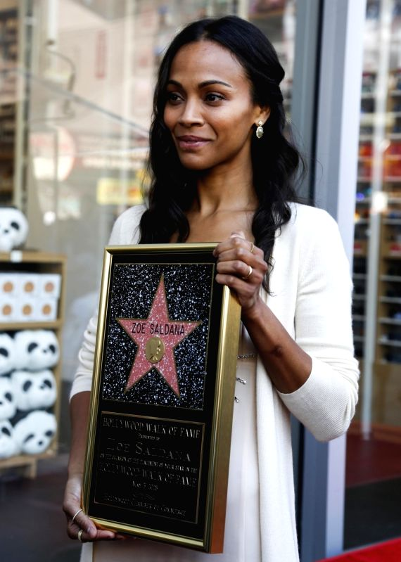LOS ANGELES, May 4, 2018 - American actress Zoe Saldana attends her Hollywood Walk of Fame Star Ceremony in Los Angeles, the United States, May 3, 2018. Zoe Saldana was honored with a star on the ... - Zoe Saldana