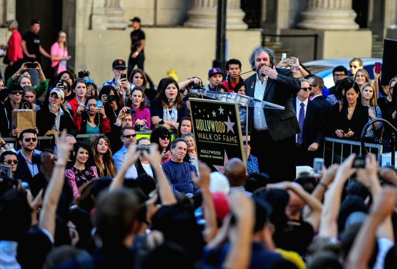 Los Angeles: New Zealand director Peter Jackson speaks at the ceremony honoring him with a star on the Hollywood Walk of Fame, in Hollywood, California, the United States, Dec. 8, 2014. Oscar-winning