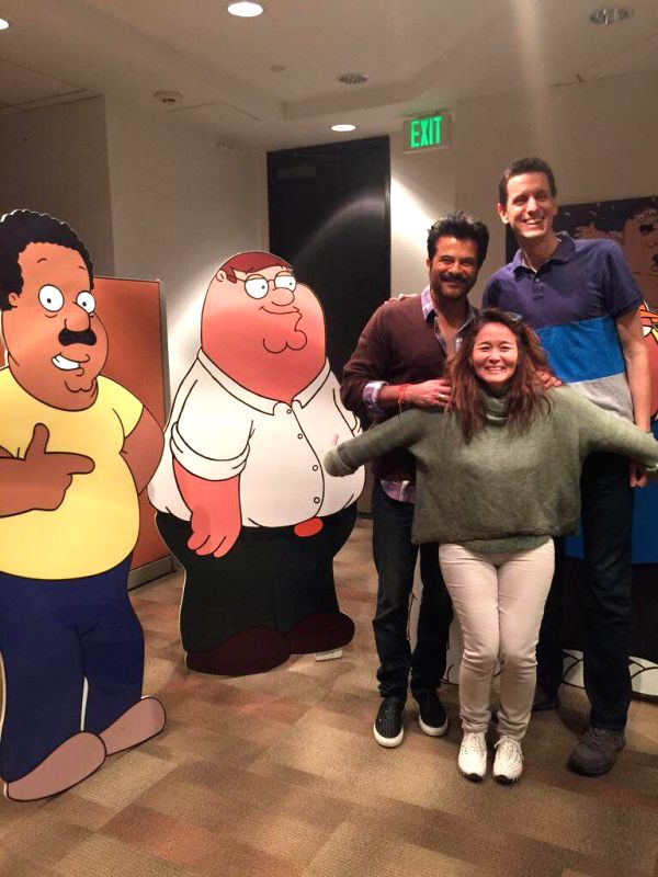 Los Angeles (US): Actor Anil Kapoor during dubbing session for Seth MacFarlane`s American adult sitcom `Family Guy` at the Fox Star Studios in Los Angeles, US.