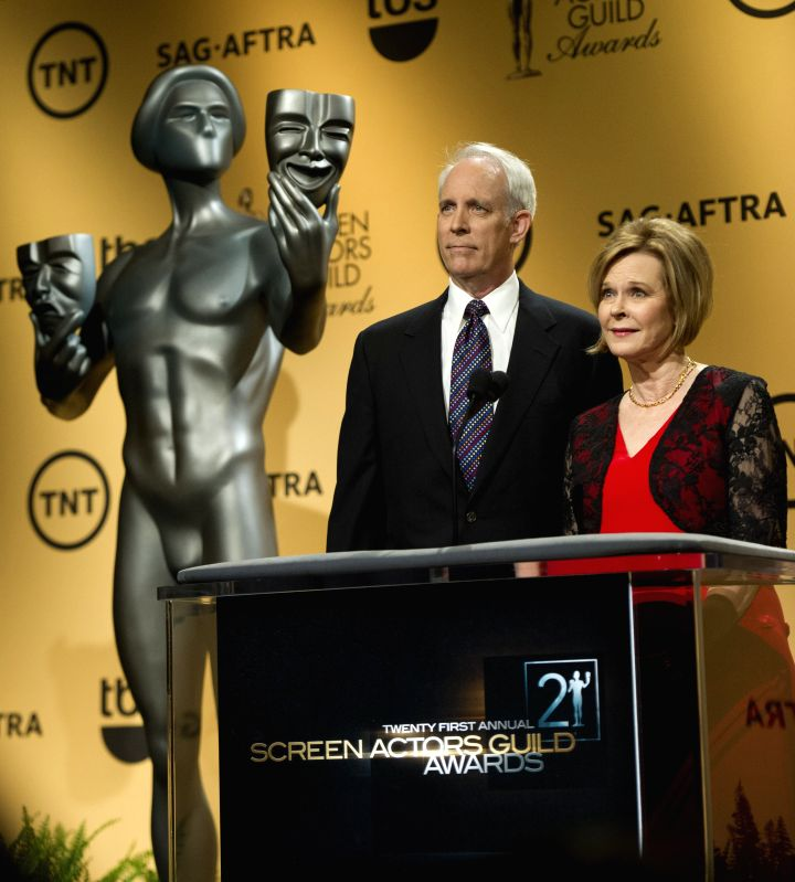 Los Angeles (US): Screen Actors Guild (SAG) Awards Foundation President JoBeth Williams (R) and the vice chair Daryl Anderson speak at the announcement of nominees for the 21st SAG Awards in Los ... - Guild