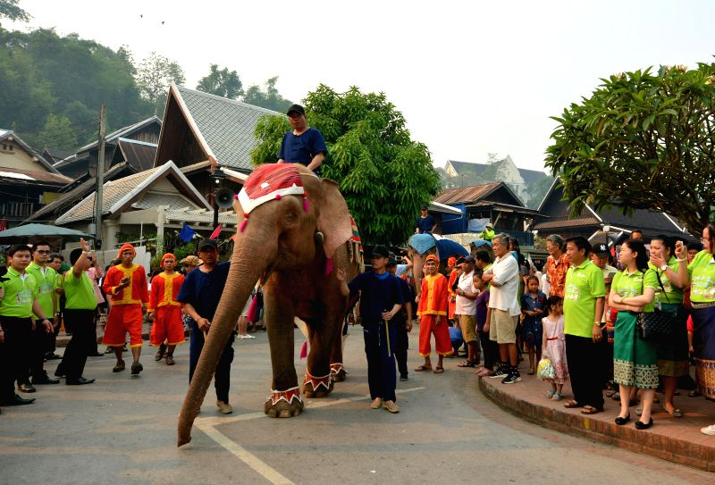LUANG PRABANG, April 13, 2018 - Photo taken on April 13, 2018 shows the scene of elephant parade in Luang Prabang, Laos. Luang Prabang held an elephant parade on Friday to celebrate the Lao New Year.