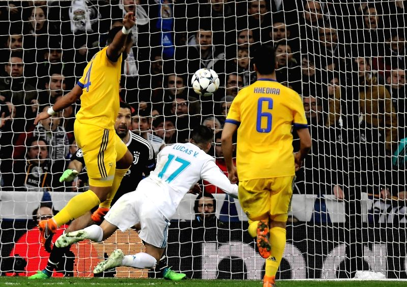 Lucas Vazquez falls for penalty during Champions League match between Real Madrid and Juventus for the second leg 1/4 final qualifier at Santiago Bernabeu stadium, in Madrid, Spain, on April 11, ...