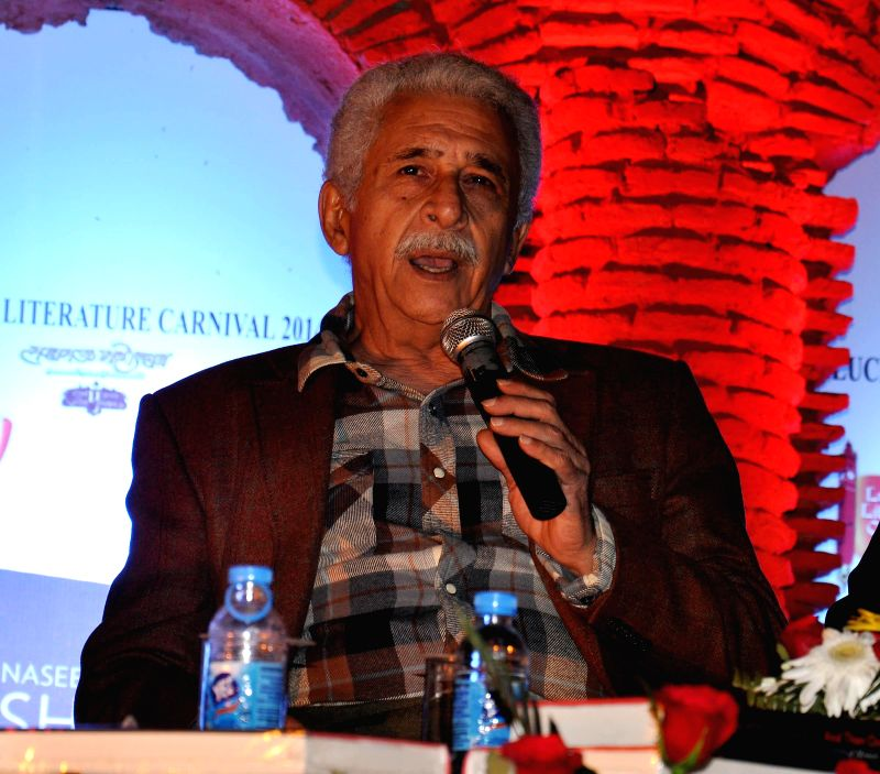 Actor Naseeruddin Shah addresses during `Lucknow Literature Carnival` on Nov 25, 2014.
