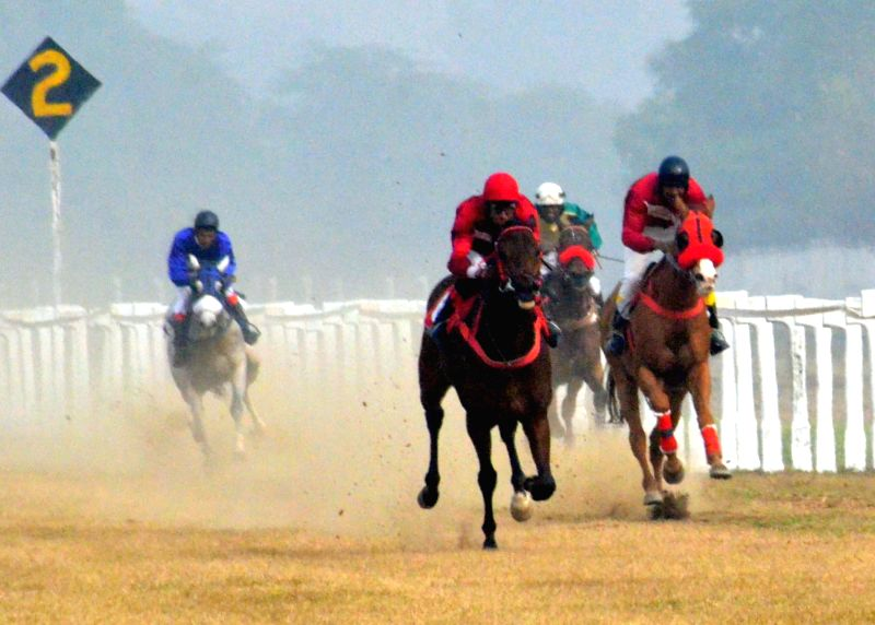 Army Cup Race underway at Lucknow Race Course on Dec 21, 2014.