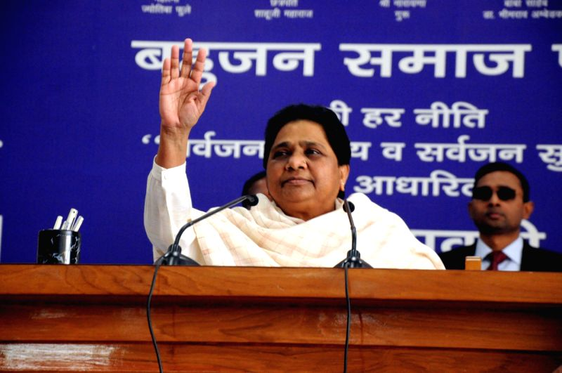 Lucknow: Bahujan Samaj Party (BSP) supremo Mayawati addresses during a party office-bearers and leaders meeting in Lucknow on March 3, 2019. (Photo: IANS)(Image Source: IANS News)