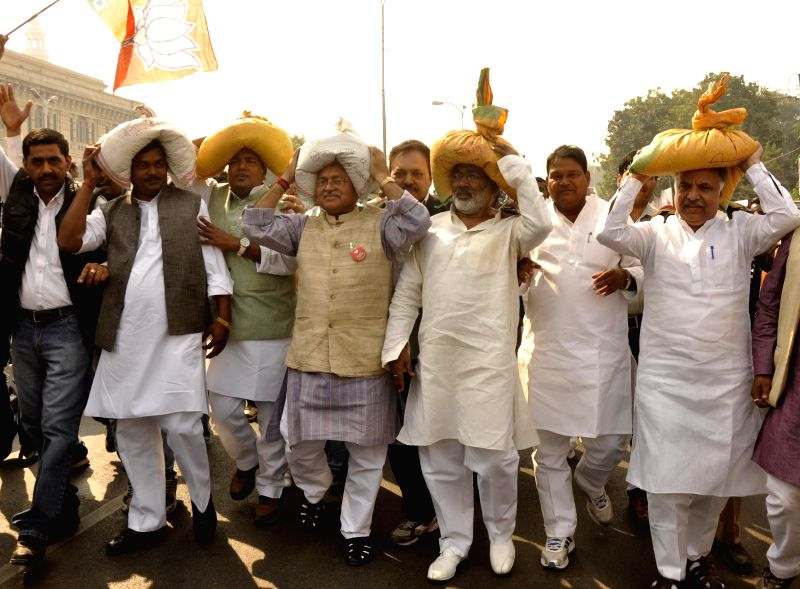 BJP leaders during a demonstration in Lucknow, on Nov 21, 2014.