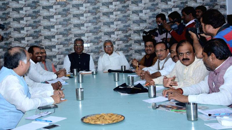 Lucknow : BJP vice-president and in-charge of Uttar Pradesh Om Prakash Mathur during a party meeting in Lucknow on Nov 16, 2015.