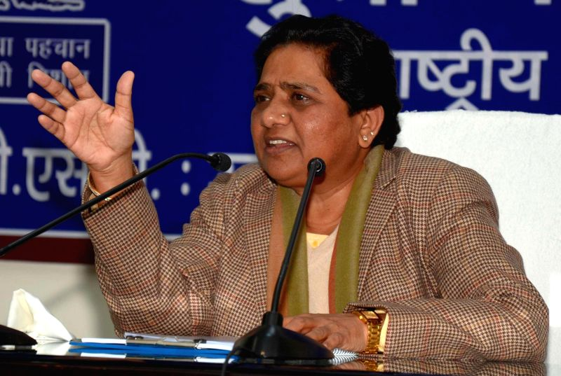 BSP chief Mayawati addresses a press conference at party headquarters in Lucknow on Jan. 3, 2015.