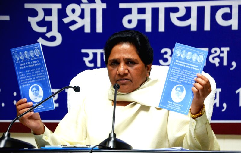 BSP supremo Mayawati addresses a press conference in Lucknow, on April 15, 2015.