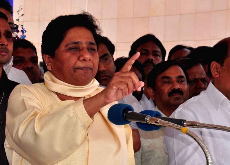 BSP supremo Mayawati addresses during a programme organised on the birth anniversary of Dr. B.R. Ambedkar in Lucknow, on April 14, 2015.
