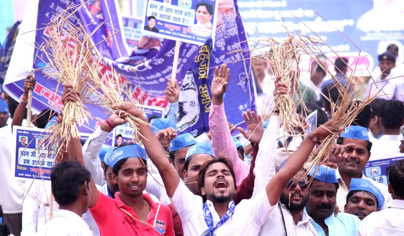 BSP workers stage a demonstration against the land acquisition ordinance in Lucknow  on April 27, 2015.