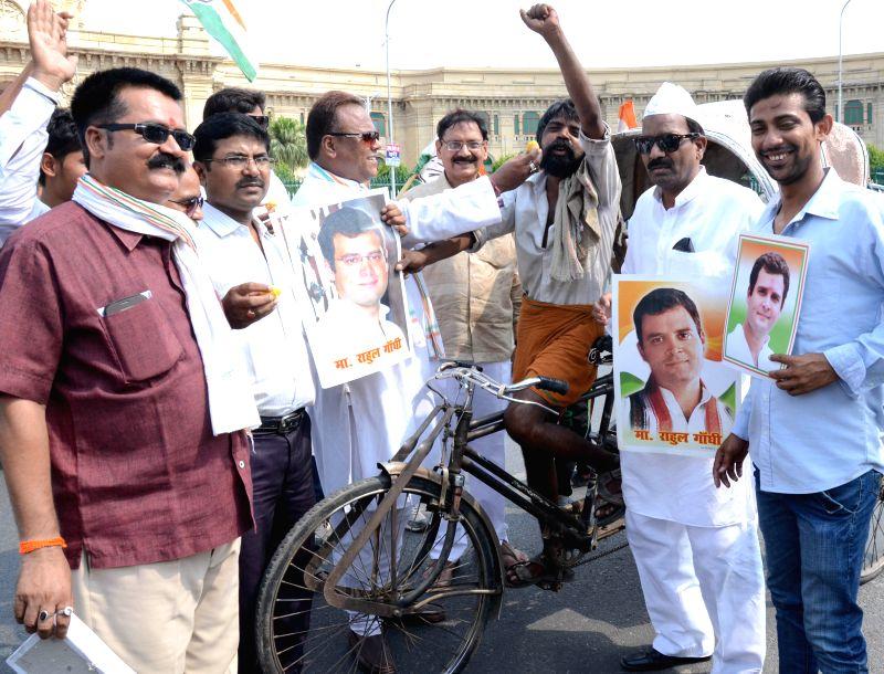 Congress workers celebrates Rahul Gandhi`s 45th birthday in Lucknow on June 19, 2015. - Rahul Gandhi