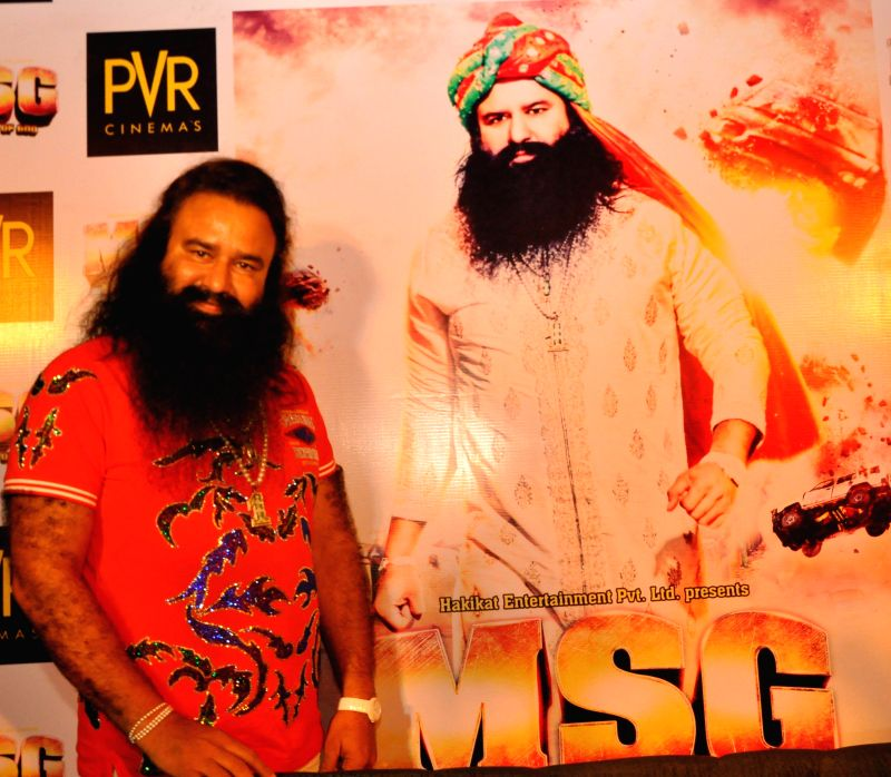 Dera Sacha Sauda chief Gurmeet Ram Rahim Singh during a press conference to promote his upcoming film `MSG: The Messenger of God` in Lucknow, on Jan 10, 2015.