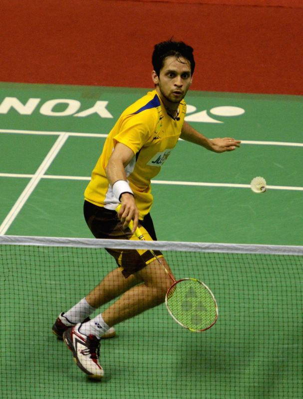 Indian badminton player Parupalli Kashyap in action during a Syed Modi International Grand Prix Gold Badminton Championship match in Lucknow, on Jan 25, 2015.