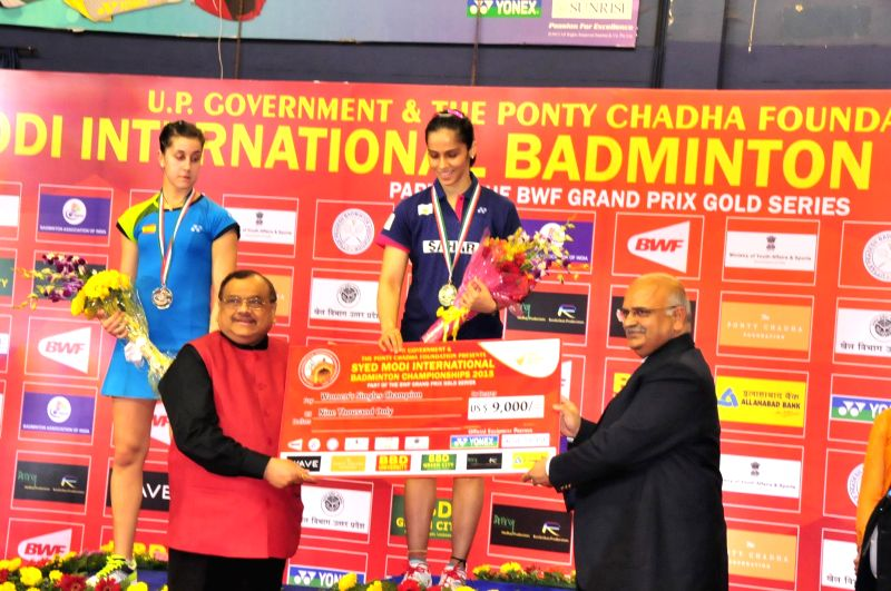 Indian shuttler Saina Nehwal during the presentation ceremony of Syed Modi International Grand Prix Gold Badminton Championship in Lucknow, on Jan 25, 2015.