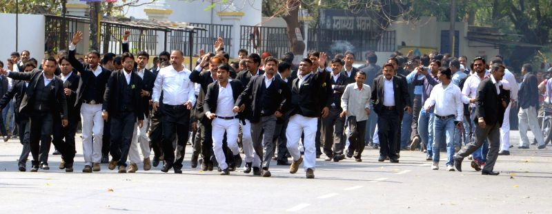 Lawyers stage a demonstration against a host of issues in Lucknow, on March 12, 2015.