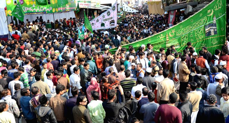 Muslims participate in a procession organised on  Eid Milad-un-Nabi - Prophet Mohammad's birthday in Lucknow, on Jan 4, 2015.