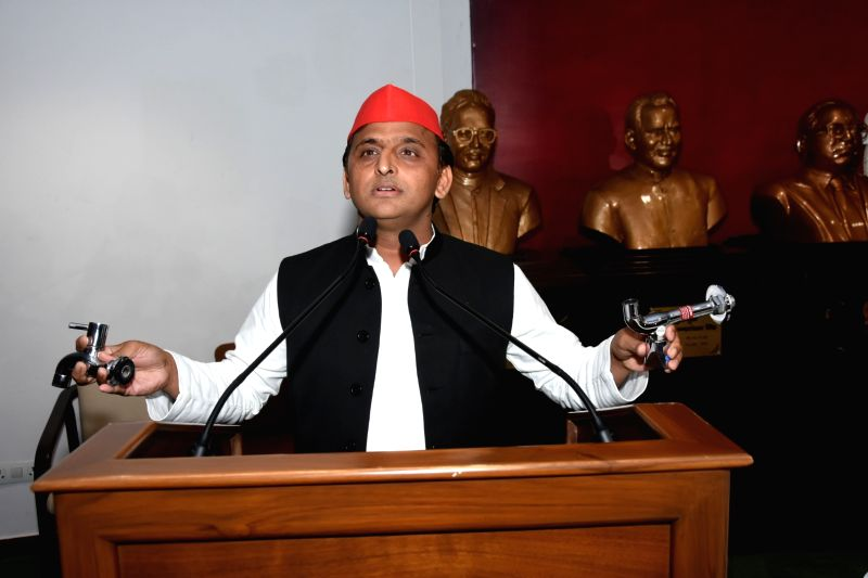 : Lucknow: Samajwadi Party chief Akhilesh Yadav addresses a press conference in Lucknow on June 13, 2018. (Photo: IANS).