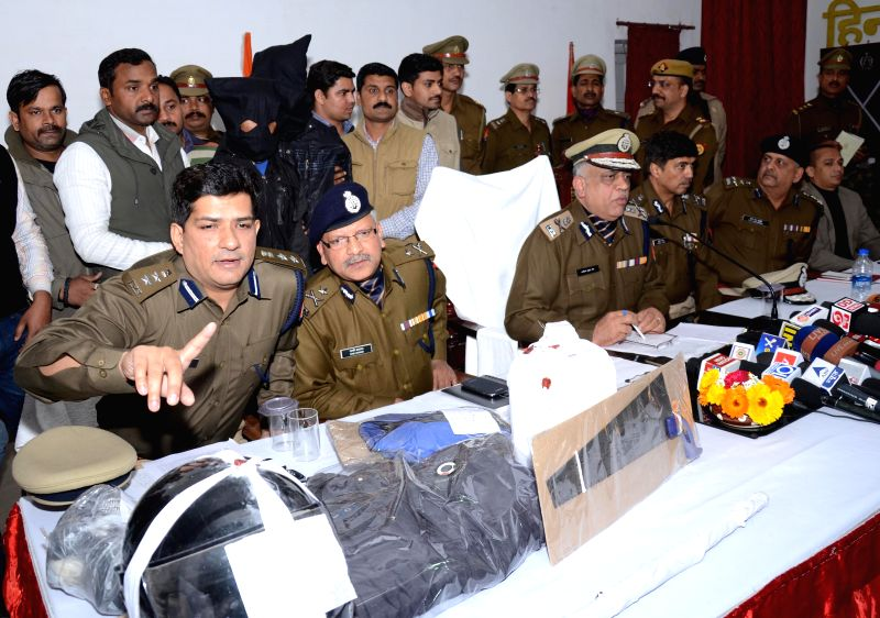 Top police officers address a press conference regarding the murder case of law student Gauri Srivastava in Lucknow  on Feb 8, 2015.