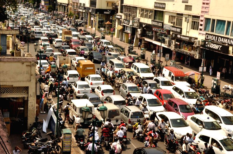 Traffic comes to a halt during a transport strike called by trade unions in Lucknow, on April 30, 2015.