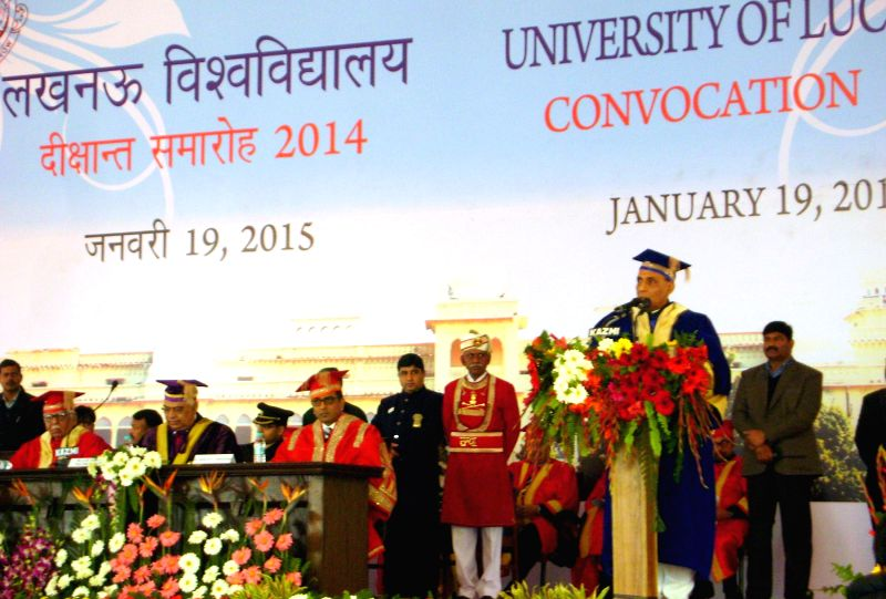 Union Home Minister Rajnath Singh addresses at the Convocation ceremony of University of Lucknow, on Jan 19, 2015.