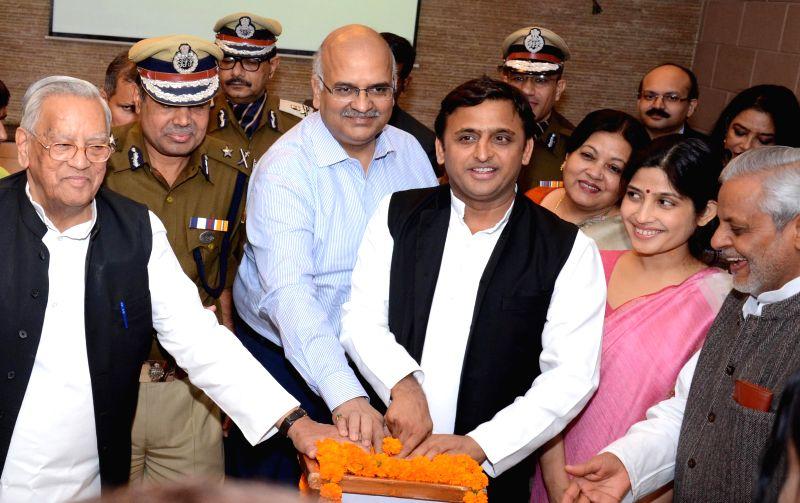 Uttar Pradesh Chief Minister Akhilesh Yadav launches a modern control room (for women security), special mobile app for women,  and 'Rani Laxmibai Mahila Samman Kosh' in Lucknow, on Nov 19, . - Akhilesh Yadav