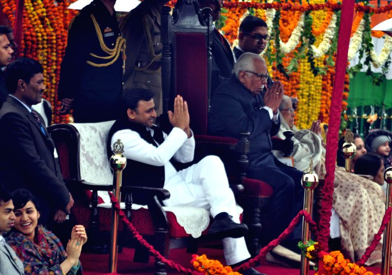 Uttar Pradesh Chief Minister Akhilesh Yadav and Governor Ram Naik during a programme organised to celebrate Republic Day in Lucknow on Jan 26, 2015. - Akhilesh Yadav