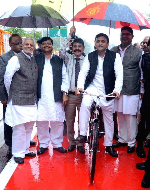 Uttar Pradesh Chief Minister Akhilesh Yadav during inauguration of a cycling track in Lucknow, on March 1, 2015.