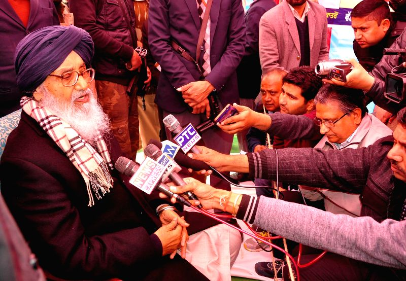 Punjab Chief Minister Parkash Singh Badal during a public meeting at Dhuri in Ludhiana on Jan. 27, 2015. - Parkash Singh Badal