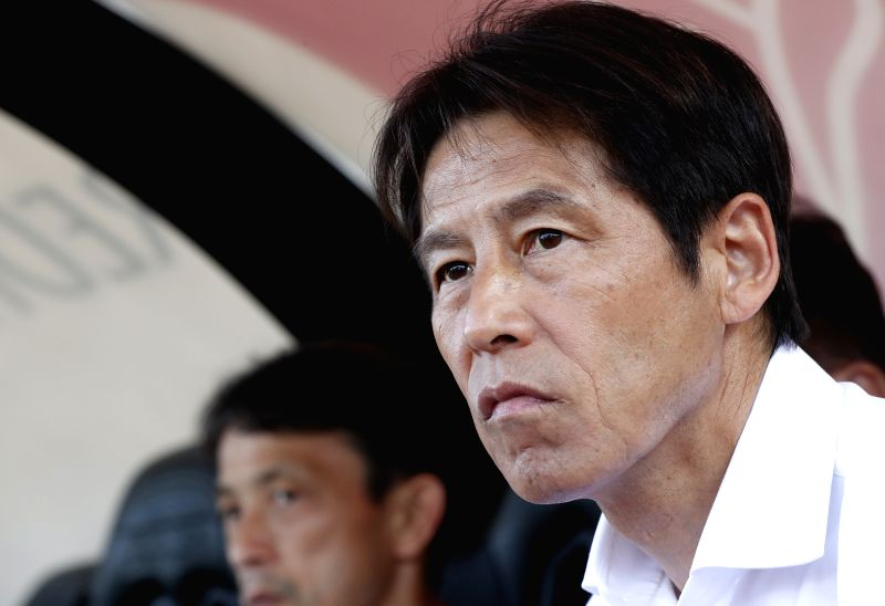 LUGANO, June 9, 2018 - Japan's coach Akira Nishino reacts ahead of the international friendly match against Switzerland at the Stadium Cornaredo in Lugano, southern Switzerland June 8, 2018. ...