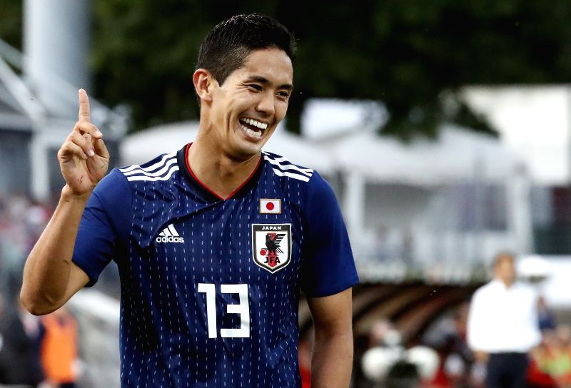 LUGANO, June 9, 2018 - Japan's Yoshinori Muto reacts during the international friendly match against Switzerland at the Stadium Cornaredo in Lugano, southern Switzerland June 8, 2018. Switzerland won ...