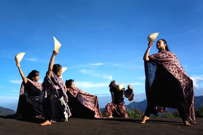 """LUMAJANG, May 7, 2017 - Dancers perform a contemporary dance with theme """"Dance in The Sky"""" in Lumajang, East Java, Indonesia on May 7, 2017."""