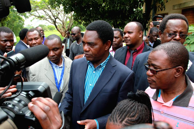 Hakainde Hichilema, opposition leader of the United Party for National Development (UPND), speaks to the media after casting his vote at a polling station at ...
