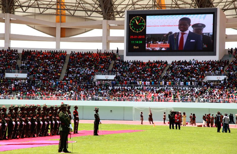 Photo taken on Jan. 25, 2015 shows the inauguration ceremony of the elected president Edgar Lungu, in Lusaka, Zambia. Zambia on Sunday held an inauguration ceremony .