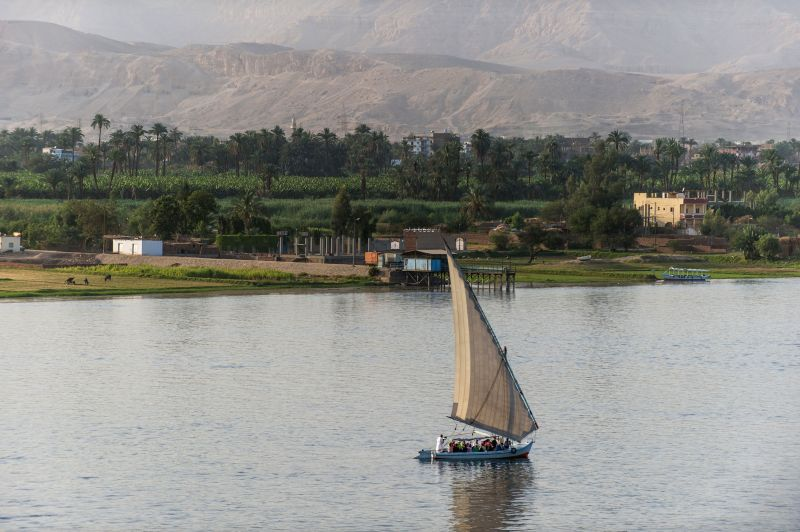 A sailboat is seen on the Nile River in Luxor, a tourist resort in south Egypt, on April 30, 2014.