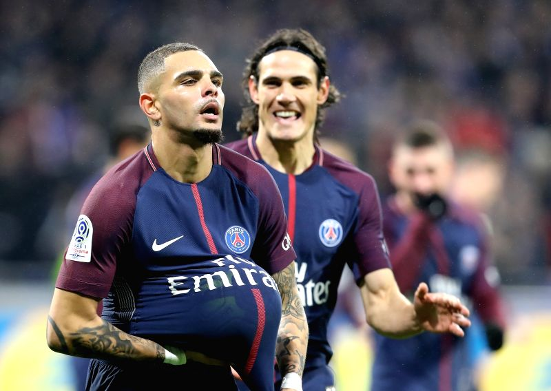 LYON, Jan. 22, 2018 - Layvin Kurzawa from Paris Saint-Germain celebrates a goal during the match between Paris Saint-Germain and Lyon of French Ligue 1 2017-2018 season 22nd round in Lyon, France on ...