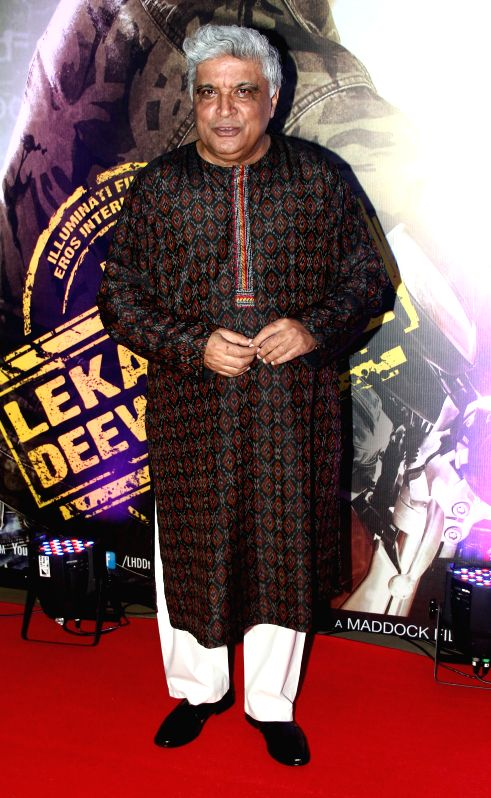 Lyricist Javed Akhtar during the premiere of film Lekar Hum Deewana Dil at PVR Cinemas in Mumbai, on July 3, 2014. - Javed Akhtar