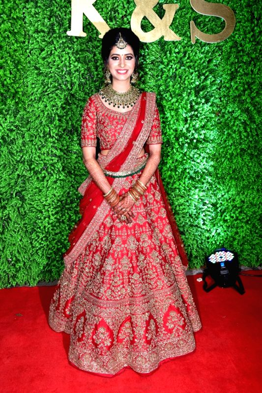 Lyricist Sameer Anjaan's daughter Suchita during her wedding reception in Mumbai, on Jan 23, 2019.